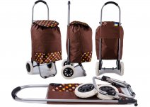 ST 02 SPOT PRINT BROWN SHOPPING TROLLEY 2 WHEELS