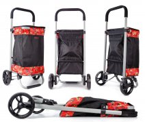 6962/S Red floral Collapsible Shopping Trolley