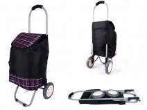 6958 PURPLE CHECK 2 WHEEL SHOPPING TROLLEY