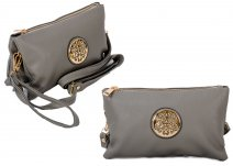 JBFB283 GREY PU CROSSBAG W/ DOUBLE COMPARTMENT