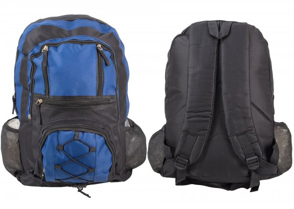 BP101 BLK/BLUE RUCKSACK W/ 6 ZIPS AND 2 NETTED POCKETS