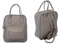 JBFB282 GREY PU SQUARE BACKPACK W/ FRONT POCKET