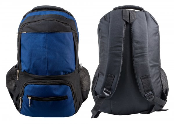 BP-113 BLK/BLUE RUCKSACK W/ 5 ZIPS AND 2 NETTED POCKETS