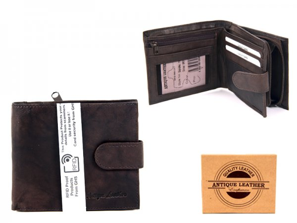1180 BROWN ANTIQUE LEATHER RFID WALLET
