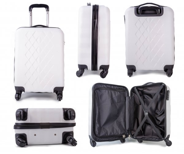 "JB2017- 20""- WHITE HARD SHELL 4 360 WHEEL CABIN TROLLEY"