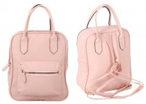 JBFB282 PINK PU SQUARE BACKPACK W/ FRONT POCKET
