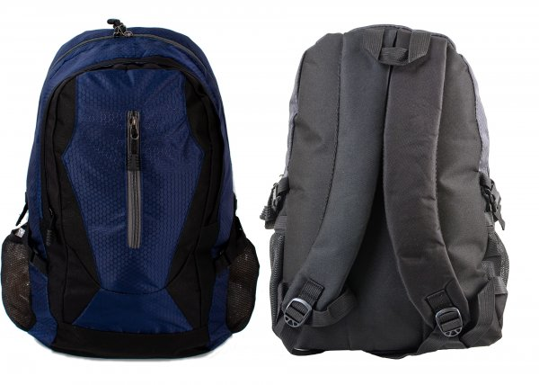 BP-109 BLK/NAVY RUCKSACK W/ 3 ZIPS AND 2 NETTED POCKETS