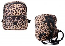 2446 Leopard Twin Top Zip Round Backpack with Front Zip