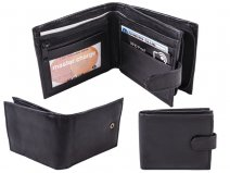 1180 GENUINE LEATHER BLACK WALLET RFID PROOF