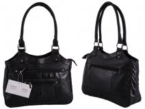 1943 BLACK Lrg Top Zip S.Nappa Bag wth Bck & 2 Frnt Zips