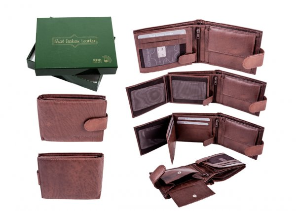 1007 TAN - RFID CARD PROTECTION GENUINE LEATHER WALLET GRN BOX