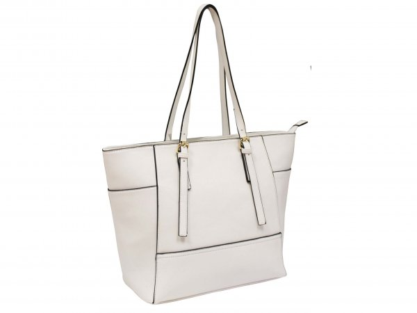 JBFB226 WHITE PU HANDBAG WITH ADJUSTABLE STRAP