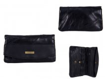 4614 Black FRONT FLAP PURSE WITH 2 ZIPS & MULTI POCKETS
