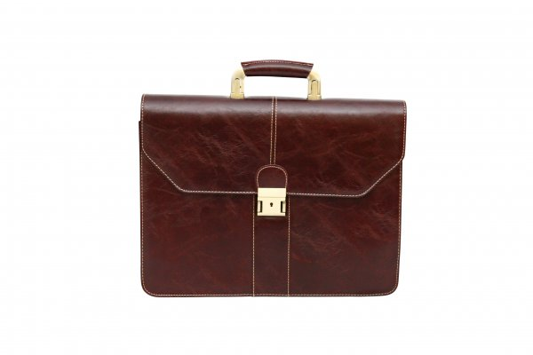 D0507Brown PU Leather Lombard Briefcase