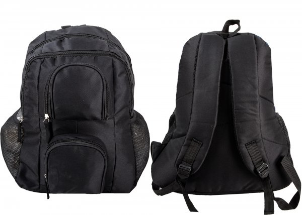 BP100 BLK RUCKSACK W/ 4 ZIPS AND 2 NETTED POCKETS
