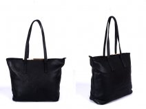 JBFB137 BLACK PU BAG WITH METAL TOP AND ONE ZIP