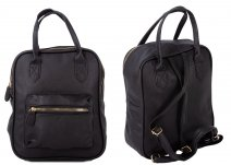 JBFB282 BLACK PU SQUARE BACKPACK W/ FRONT POCKET