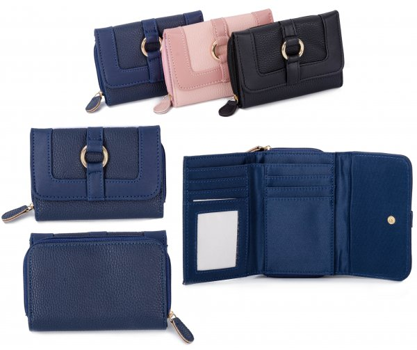 JBPS188 BLUE PU PURSE W/ CARD HOLDERS & COIN SECTION