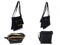 JBFB192-C-BLACK PU Xbody with two Zips and pop flap