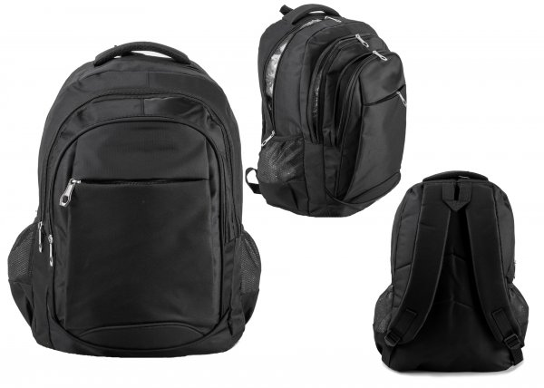 BP108 BLK RUCKSACK W/ 4 ZIPS AND 2 NETTED POCKETS