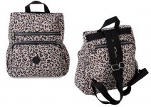 2447 Pink and Grey Leopard Backpack w/ 3 zips and side pockets