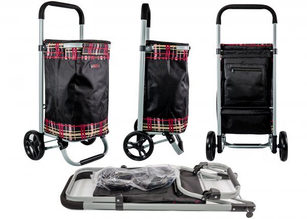 6962/S BLACK CHECK 2 WHEEL TOP ZIP RND FRAMED TROLLEY