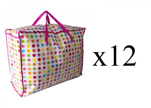 JBLND01 MULTI POLKA LARGE LAUNDRY BAG set of 12