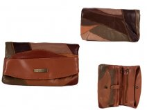 4614 Brown FRONT FLAP PURSE WITH 2 ZIPS & MULTI POCKETS