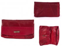 4614 Red FRONT FLAP PURSE WITH 2 ZIPS & MULTI POCKETS