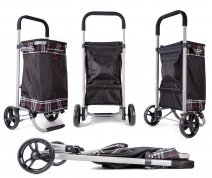 6962/W Black checkered Collapsible Shopping Trolley