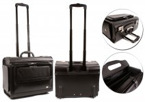 6915 BLACK LEATHER BUSINESS BRIEFCASE LAPTOP TROLLEY - B058