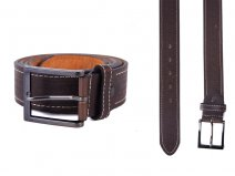 "2750 Brown 1.5"" M BELT WITH PATTERN&CONTRAST STITCH"