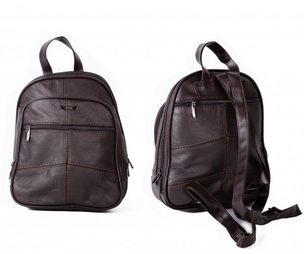 3744D.BROWN BACKPACK WITH TOP ZIP ROUND COMPARTMENT,