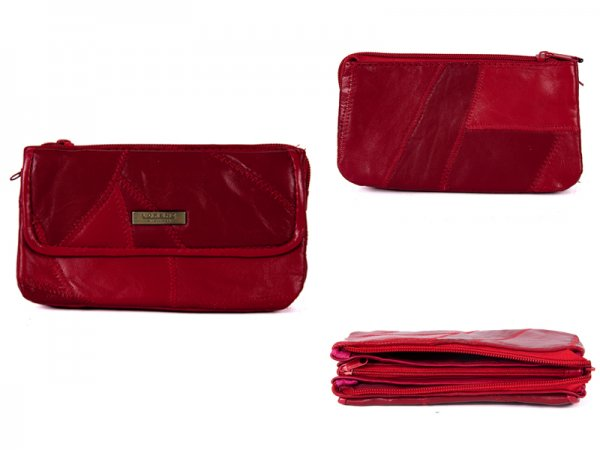 4684 RED LEATHER PATCHWORK PURSE