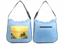 3423 LIGHT BLUE MICRO FIBRE BEACH BAG WITH TOP & BACK ZIP