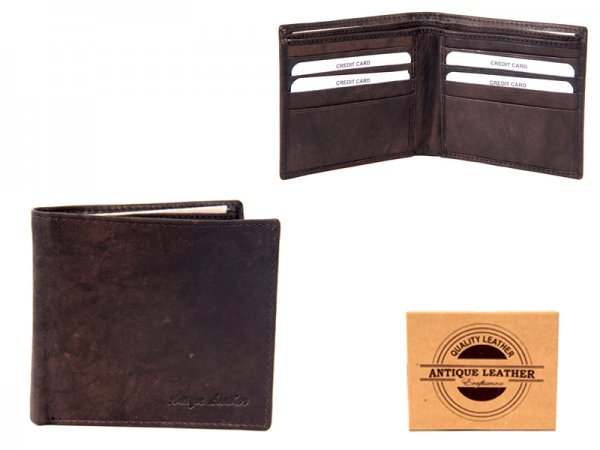 1061 BROWN ANTIQUE LEATHER RFID WALLET