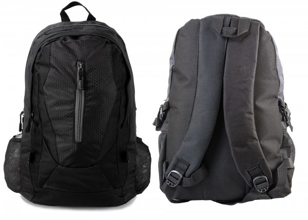 BP-109 BLK RUCKSACK W/ 3 ZIPS AND 2 NETTED POCKETS