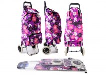 ST-FP-02 PURPLE FLOWER 2 WHEEL SHOPPING TROLLEY