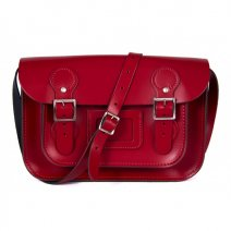 11 CIRCLE RED PATENT SATCHEL