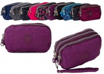 2509 Plum Large Triple Zipe Round Purse With Detachable