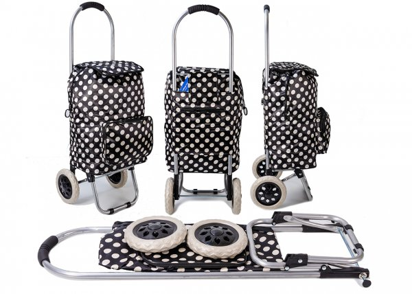 ST-DP-03 POLKA DOT BLK/WHITE 2 WHEEL SHOPPING TROLLEY