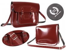 "16"" PATENT OXBLOOD TALLBOY SATCHEL"