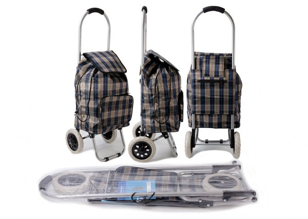 ST-CH-03 BROWN CHECK 2 WHEEL SHOPPING TROLLEY