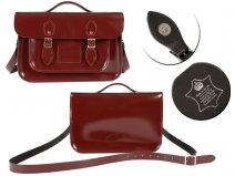 14 PATENT OXBLOOD MAGNET ENGLISH BRIEFCASE SATCHEL