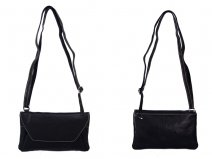 RL 666 BLACK LEATHER BAG WITH POPPER FLAP