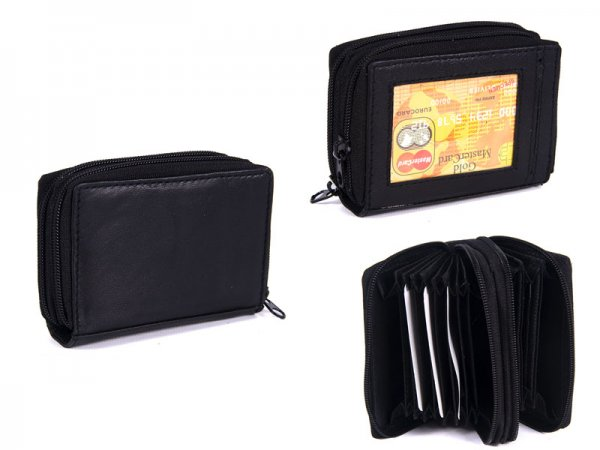 PW-02 BLACK REAL LEATHER TWO ZIP CARD HOLDER PURSE