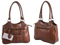 1943 TAN Lrg Top Zip S.Nappa Bag wth Bck & 2 Frnt Zips