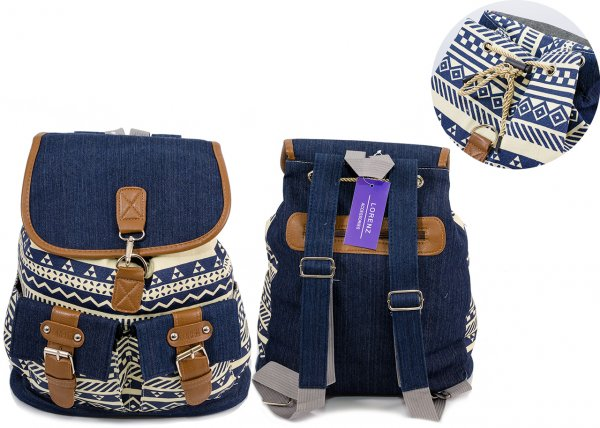 2606 BOHO CANVAS BACKPACK WITH 2 FRONT POCK Paris - navy pattern