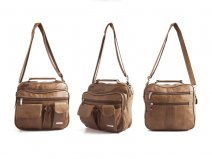 3727 - Light Brown Lrg C.Hide Unisex/Gnts/Trvl Multi Pkt Bag