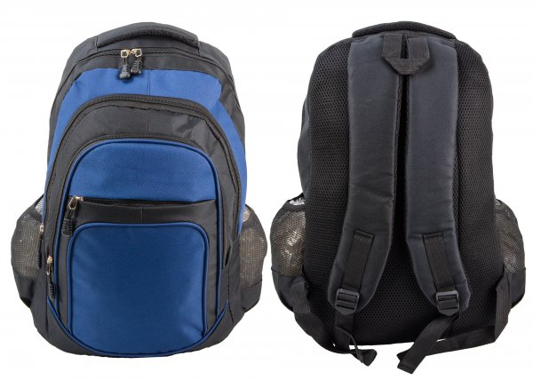 BP-105 BLK/BLUE RUCKSACK W/ 4 ZIPS AND 2 NETTED POCKETS